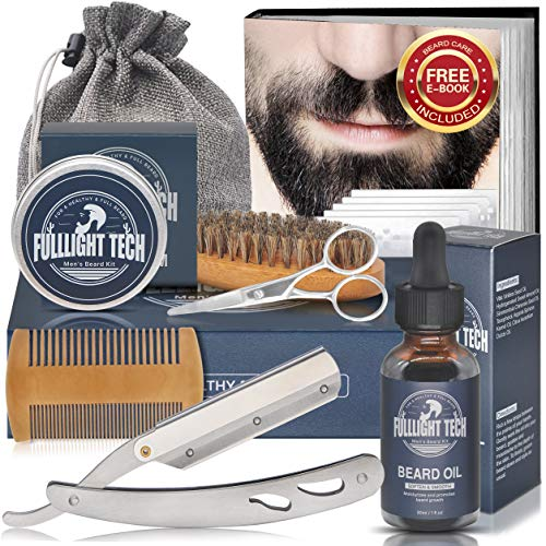 Beard Growth Kit,Beard Grooming Kit,Beard Kit,w/Straight Razor,Beard Growth Oil,Beard Balm,Beard Brush,Beard Comb,Scissor,Bag,Beard Care eBook,Stocking Stuffers Gifts for Men Husband Him Dad Boyfriend
