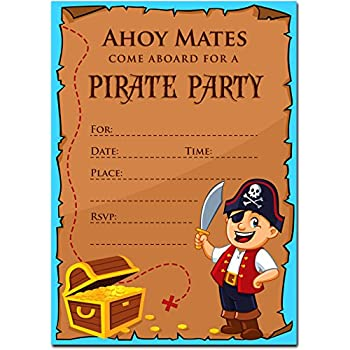 Amazon kids pirate birthday party invitations for boys 20 30 pirate birthday invitations with envelopes kids birthday party invitations for boys or girls filmwisefo