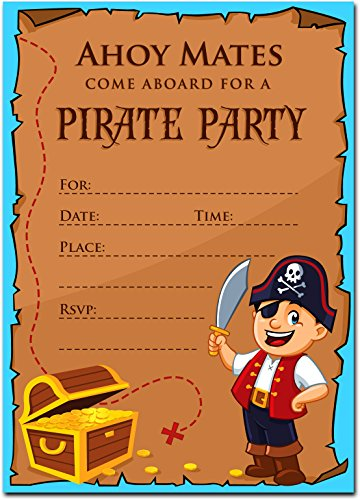 Pirate Birthday Invitations with Envelopes (15 Pack) - Kids Birthday Party Invitations for Boys or