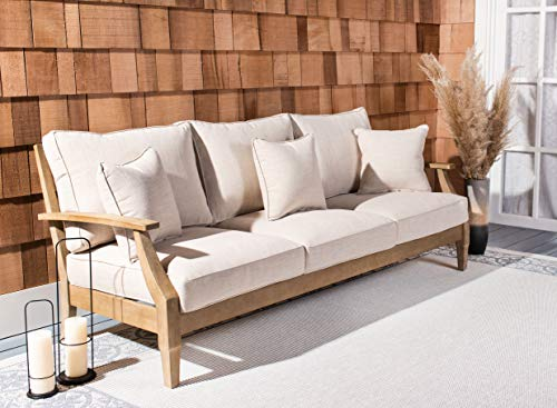 Safavieh CPT1013A Couture Martinique Natural and White Wood Outdoor Patio Sofa