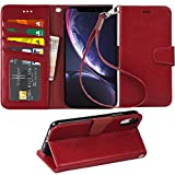 Arae Wallet Case for iPhone xr 2018 PU Leather flip case Cover [Stand Feature] with Wrist Strap and [4-Slots] ID&Credit Cards Pocket for iPhone Xr 6.1'' (Wine red)