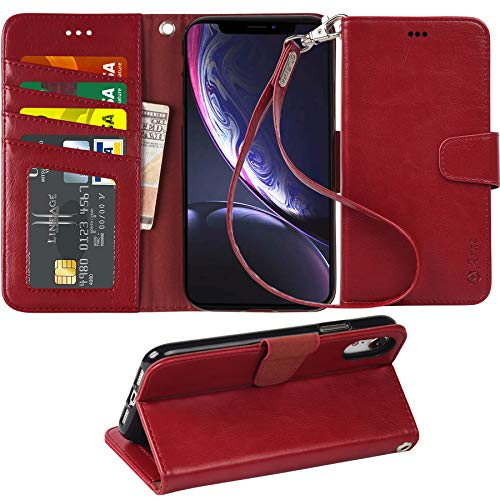 iPhone xr 2018 PU Leather flip case Cover [Stand Feature] with Wrist Strap and [4-Slots] ID&Credit Cards Pocket for iPhone Xr 6.1