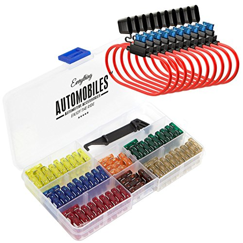 (Everything Automobiles, 120 Assorted Fuses with 10 Inline Fuse Holders - Includes Fuse Puller Tool, Great for Use on Cars)