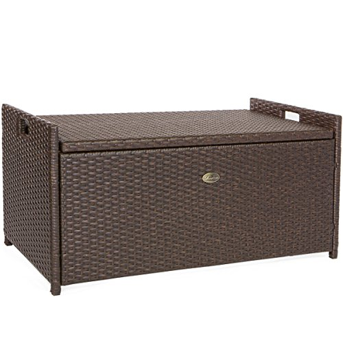 Barton Outdoor Storage Bench Rattan Style Deck Box W Cushion 60 Gallon Storage Benches