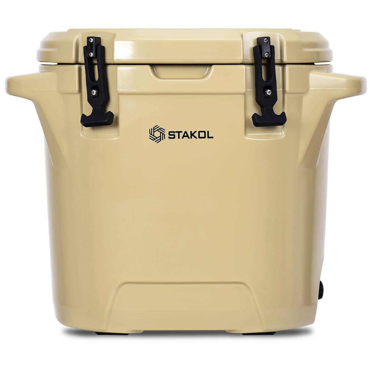 Liberory 25L Outdoor Ice Cooler Heavy Duty Ice Freezer Round Ice Chest Patio Gray