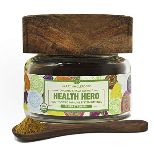 Health Hero Chaga Powder - Siberian Mushroom Chaga Tea - High Potency Organic Dual Extract Chaga - USDA Certified Organic - Enhances Immunity, Promotes Longevity, Optimizes Health - 1oz (30g)