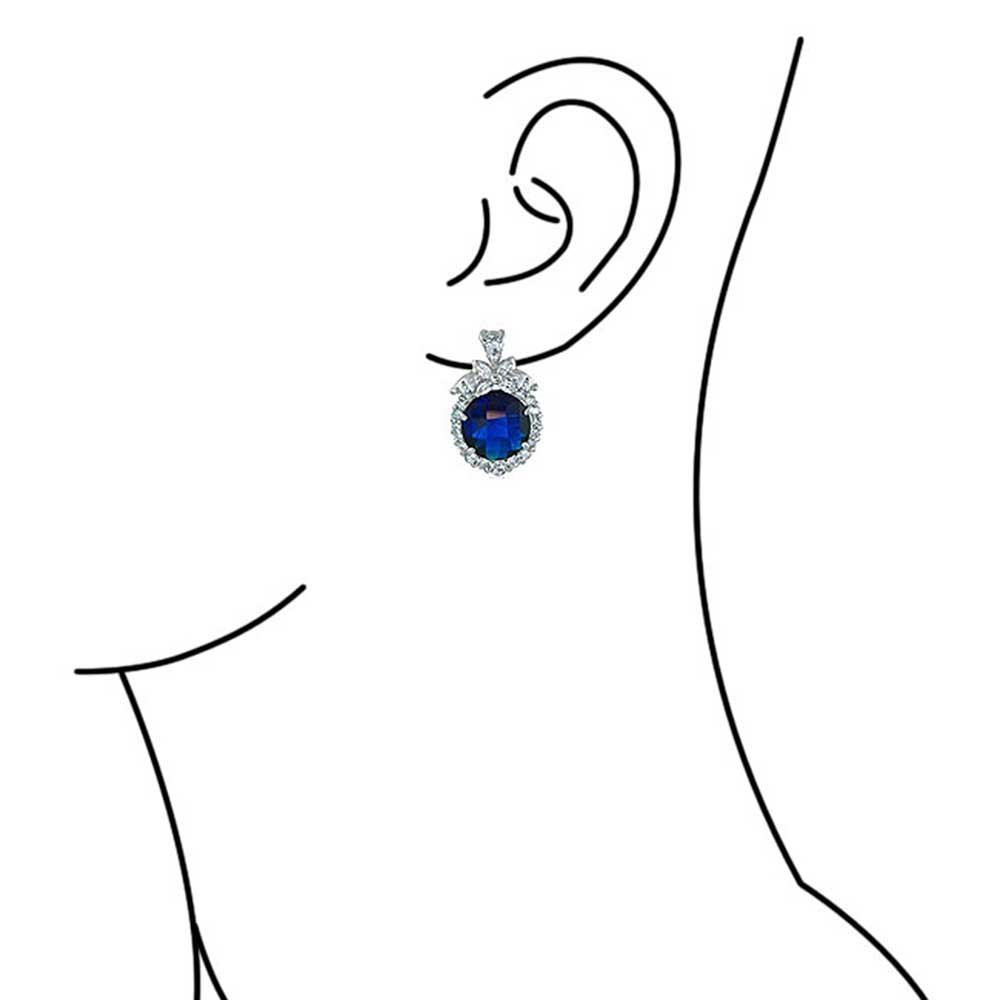 Blue Simulated Sapphire CZ Omega Clip Earrings Rhodium Plated Brass by Bling Jewelry (Image #2)