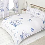 Double Bed Nautical Theme, Duvet / Quilt Cover Bedding Set, BY MY HOME, Boat Ship Anchor Wheel Compass Lamp Lighthouse Rope Bottle, Blue Navy White