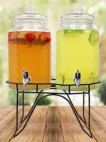 Estilo Hammered Glass Double Beverage Drink Dispenser On Stand With Leak Free Spigot, 1 gallon, Clear (Glass Dispenser 1 Gallon Beverage)