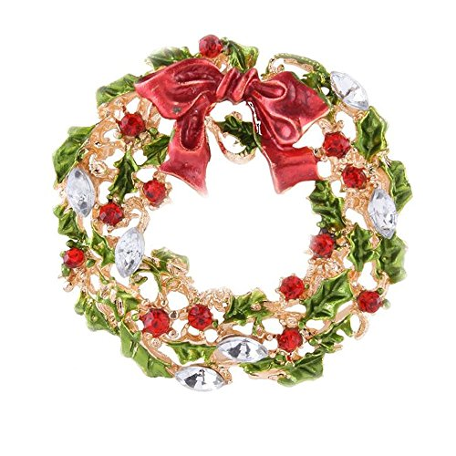 Wreath Brooch (Beautiful multi-style Xmas deer& snowman hanger, wreath,pine tree brooch Christmas brooch accessories)