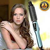 Image of Curling Iron Brush, 1 Inch Dual Voltage Electric Hair Curler Brush, Professional Negative Ionic Ceramic Tourmaline Hot Curl Brush, 3 in 1 Anti-Scald Heating Brush, Styling Brush for Long Hair(Blue)