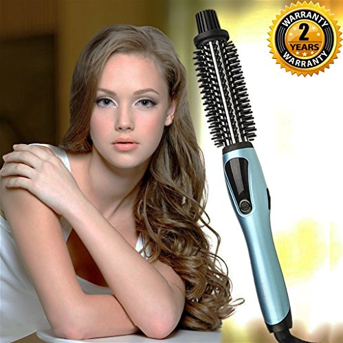 Curling Iron Brush, 1 Inch Dual Voltage Electric Hair Curler Brush, Professional Negative Ionic Ceramic Tourmaline Hot Curl Brush, 3 in 1 Anti-Scald Heating Brush, Styling Brush for Long Hair(Blue)](Rotating Curling Iron Brush)
