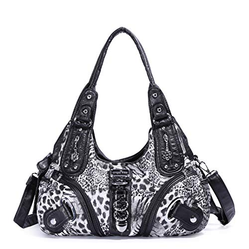 Angelkiss Women Multiple Pockets Purses and Handbags Washed Leather, Two Top Zippers Closure, Black-leopard