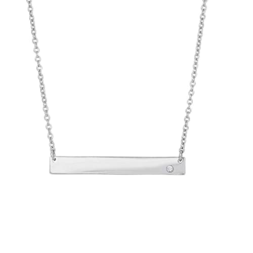 """18/"""" 1.2mm Sterling Silver Necklace w// 3.9-1.2mm Bar /& 1 CZ"""