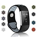 POY Replacement Bands Compatible for Fitbit Charge 2, Adjustable Breathable Wristbands with Air Holes Straps, Large Black Gray 1PC