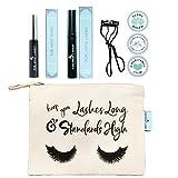 4 in 1 BUNDLE - Includes NATURAL Eyelash Growth Serum + Organic Natural Mascara + Nickle Free Eyelash Curler PLUS Organic Cotton Makeup Travel Bag - CRUELTY FREE