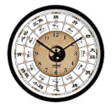 fwerq Wall clocks, Chi creative modern living room Bedroom Health Meridian Banners Mute Decoration Quartz Clock 30/35/40cm (Color B, Size: 40cm)