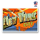 new york postcards - GREETINGS FROM NEW YORK vintage reprint postcard set of 20 identical postcards. Large letter New York city and state name post card pack (ca. 1930's-1940's). Made in USA.
