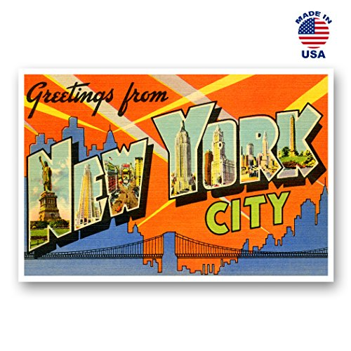 GREETINGS FROM NEW YORK CITY vintage reprint postcard set of 20 identical postcards. Large letter New York, NY and state name post card pack (ca. 1930