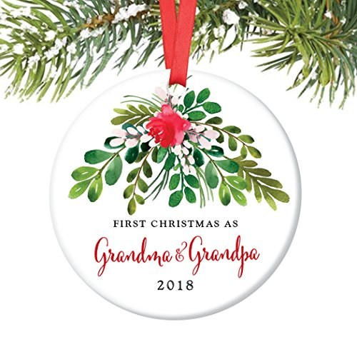 nament 2018, First Christmas as Grandmom & Grandpop New Grandparents Porcelain Ornament, 3
