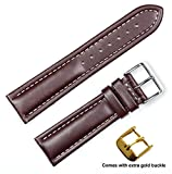 deBeer brand Breitling Style Oil Tanned Leather Watch Band (Silver & Gold Buckle) - Brown 22mm