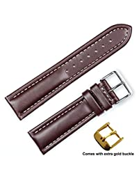 Breitling Style Oil Tanned Leather (Long Length) Watch Band (Silver & Gold Buckle) - Brown 18mm