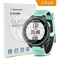 (Paquete de 2) Garmin Forerunner 235 225 Protector de pantalla de cristal, Exuun Real 0.3mm Reloj premium 2.5D Cristal templado Protector de pantalla Película de vidrio para Garmin Forerunner 235 225