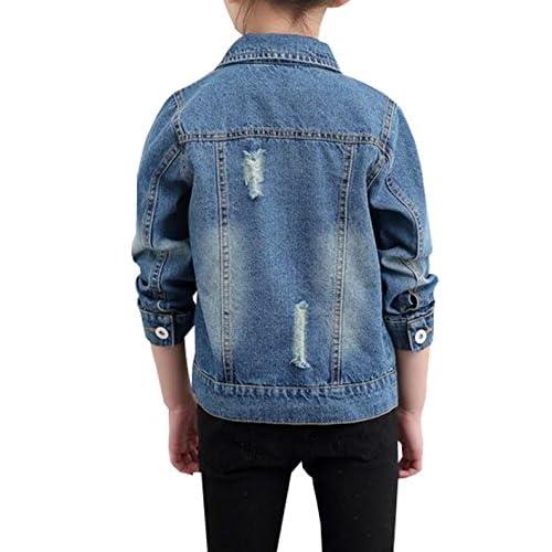 MYtodo Boys and Girls Cowboy brokren Holes Coat Lapel Cotton Jacket