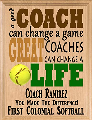 (Broad Bay Softball Coach Gifts Personalized Coaches Gift Team Appreciation Thank You Plaque)
