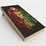 Skin Decal Vinyl Wrap for Cornhole Game Board Bag Toss (2xpcs.) Skins Stickers Cover / Rasta Dread Lion Irie