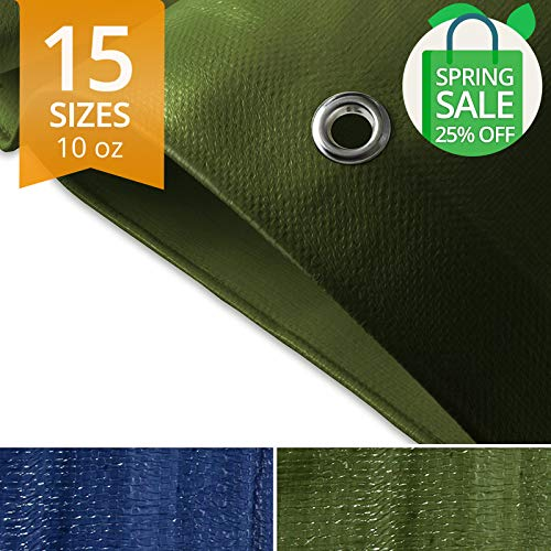 casa pura Tarps Heavy Duty Waterproof | Ground Tent Trailer Cover | Large Tarpaulin in Multiple Sizes | 10 oz/Sq Yd | Green - 6 x 8