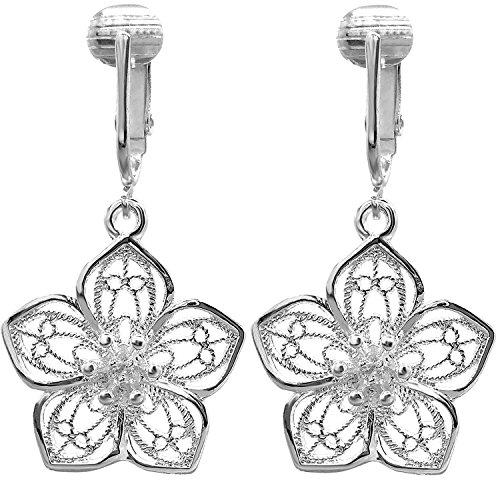 Womens Clip Earrings Silver, Silver Earrings Clip On for Women, Lightweight Silver Clip Earrings (Silver Flower)