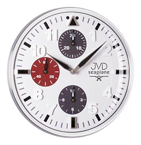Moderne Wanduhr Uhr mit Chronograph Design Quarzuhr Quarz weiß