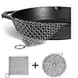 "LOOCH Cast Iron Cleaner 2 Pack- 8x6 and 7""x7"" More Efficient Stainless Steel Chainmail Scrubber for Cast Iron Pan Pre-Seasoned Pan Dutch Ovens Waffle Iron Pans Scraper Cast Iron Grill Scraper Skill"