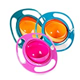 3pcs Magic Gyro Bowl 360 Degree Rotate Spill-Proof Bowl with Lid Plastic Creative Dishes Practice Feeding Bowls for Kids (Blue + Green + Rose)