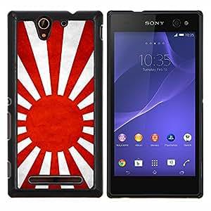 TECHCASE---Cubierta de la caja de protección para la piel dura ** Sony Xperia C3 ** --Nación Bandera Nacional País japonesa naval
