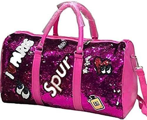 Brim Sequence Patchwork Dark Pink Travels Duffel Bag Travel Duffel Bag Outdoor Party Sequins  Pink