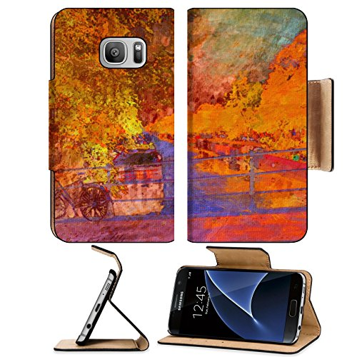 Liili Premium Samsung Galaxy S7 Flip Pu Leather Wallet Case oil painting of amsterdam canal early morning Photo 6997456 Simple Snap Carrying
