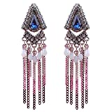 New Fashion Handmade Crystals Feather Tassels Statement Earrings For Women Gold Plated (B)