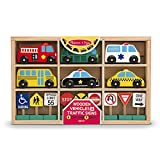 MELISSA & DOUG WOODEN VEHICLES AND TRAFFIC SIGNS (Set of 3)