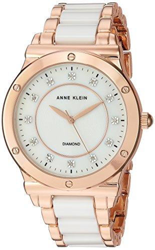 Anne Klein Women's Quartz Metal and Ceramic Dress Watch, Color:White (Model: AK/2902WTRG)