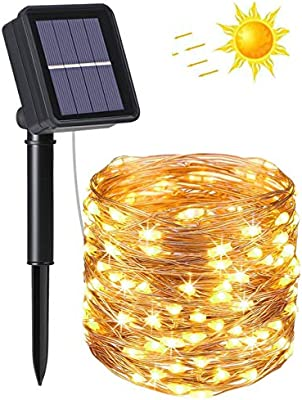flintronic® Guirnalda de Luces Solares, 1PCS/100LED Luces Jardín ...