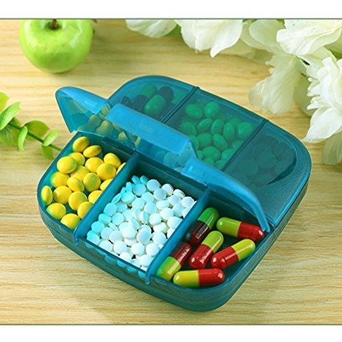 Mini Travel First Aid Kit, Weekly Pill Organizer Pill Box 7 Days Purse for Car Plane Trip by Rachsa (Blue) by Rachsa (Image #2)