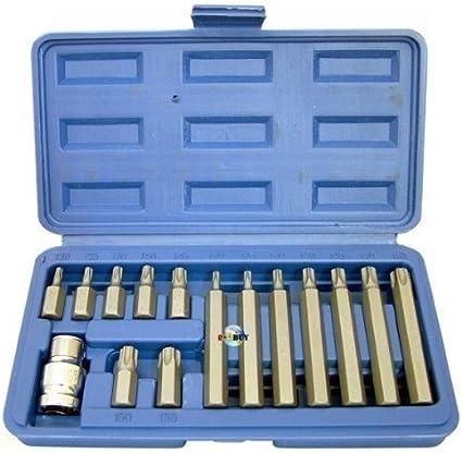 """T55 Bluespot Torx Star Keys Set 15pc 1//2/"""" Drive Wrench Key Socket Bit Set T20"""