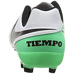 NIKE Kids Jr Tiempo Legend VI FG Soccer (Toddler Big), White/Black/Electro Green, 1 Little Kid M