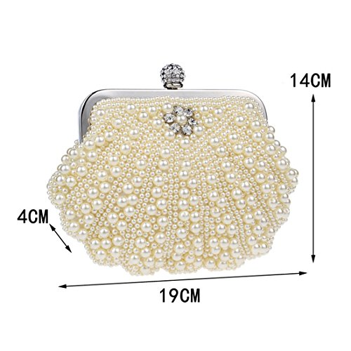 Banquet Crossbody Clutch colore Women Evening Pearl Beaded Beige Bianco Hemotrade Bag WFY4qwwH