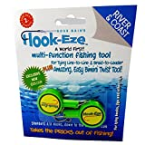 Hook-Eze Fishing Tool (Green) Hook Tying & Safety Device + Line Cutter - Cover Hooks on 2 Poles & Travel Safely fully rigged. Multi function Fishing Device.
