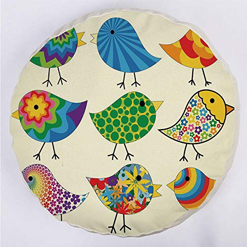 Round Decorative Throw Pillow Floor Meditation Cushion Seating/Abstract Patterned Funky Birds Colorful Designs Flowers Dots Lines Circles Animal Fun Decorative/for Home Decoration 17