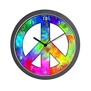 kitchen wall clocks cafepress retro tie dyed peace sign wall clock 30188