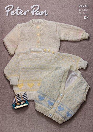 Peter Pan Baby Sweater, Cardigan & Waistcoat Knitting Pattern 1245 DK